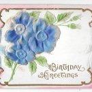 Birthday Greetings Air Brushed Silk Flowers Vintage Novelty Postcard