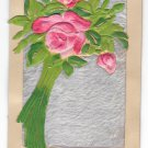 Best Wishes Silk Covered Roses Faux Fur Add-On Novelty Postcard