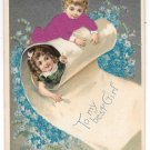 Red Applied Silk Dress Children Boy and Girl Vintage Novelty Postcard