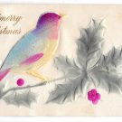 Merry Christmas Applied Felt Bird Vintage Embossed Novelty Postcard