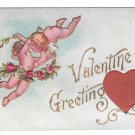 Valentine Greetings Silk Red Heart Cupid Cherubs Vintage Embossed Postcard