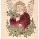 Christmas Angel Applied Velvet Vintage Embossed Gold trim Postcard