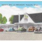 Thomasville Georgia Dodson's Grill & Restaurant Vintage E C Kropp Linen Postcard