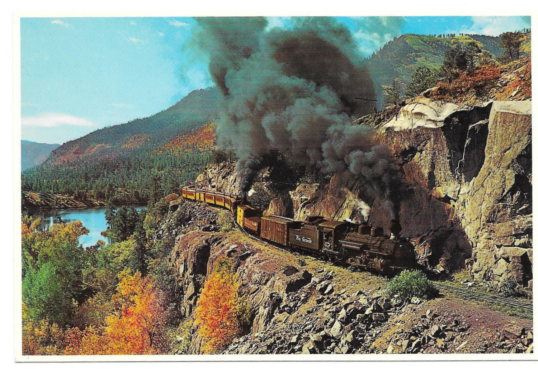 Durango Silverton Narrow Gauge RR Train Doubleheading Rockies Petley Postcard