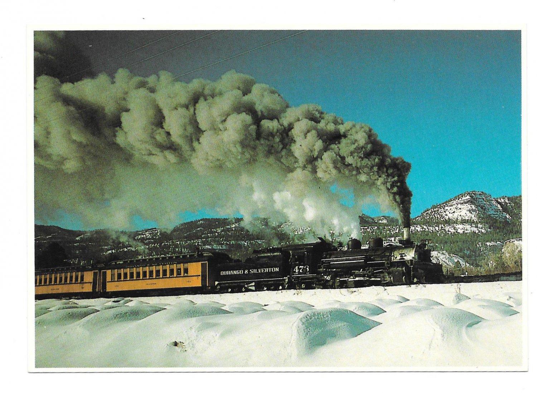 CO Durango and Silverton Narrow Gauge Train Winter Snow Petley Railroad Postcard