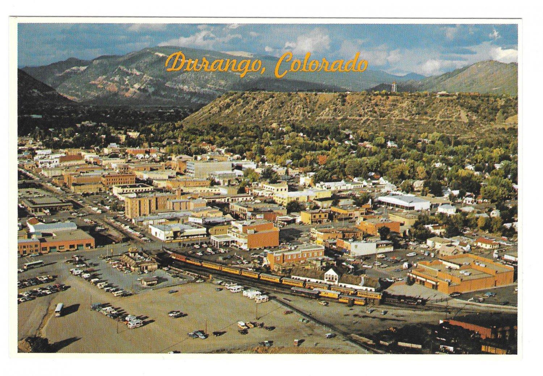 Durango Colorado Aerial View Silverton Narrow Gauge Train Petley 4X6 Postcard