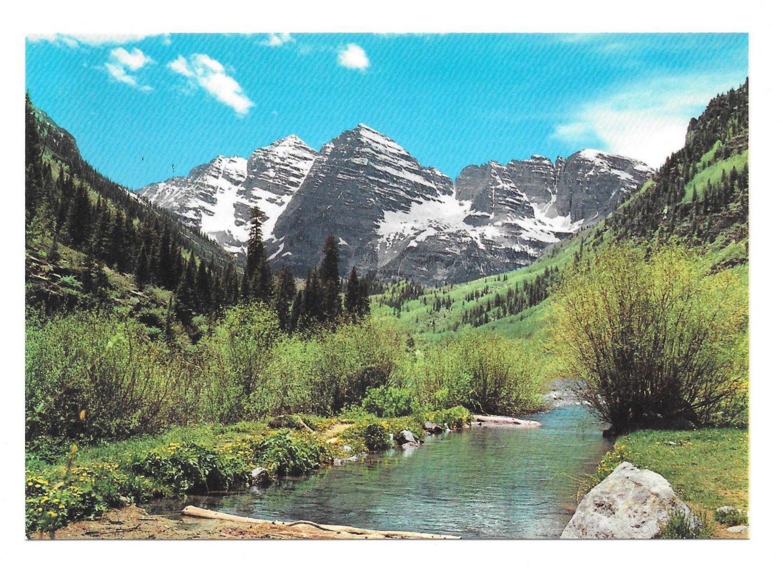 Colorado Rocky Mountains Springtime Maroon Bells Creek Vintage Motisher 4X6 Postcard