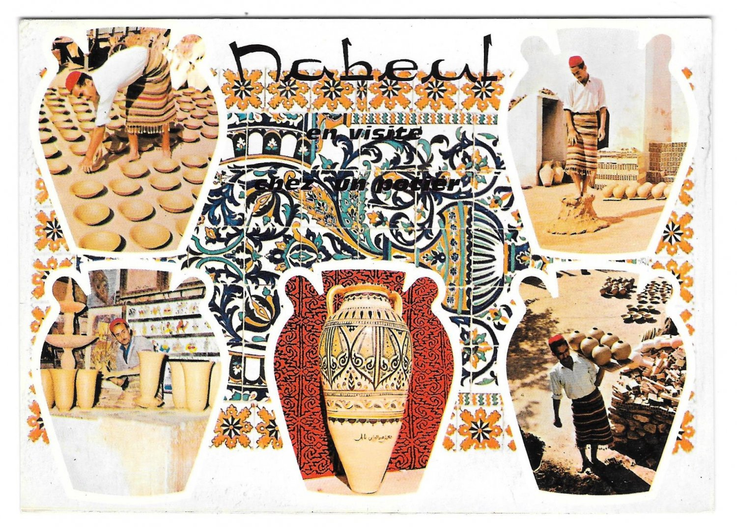 Africa Tunisia Nabeul Pottery Makers Multiview Pots Vintage H Ismail 4X6 Postcard