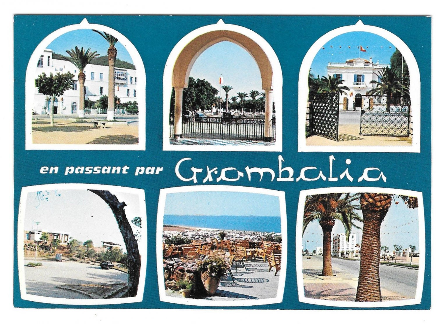 Africa Grombolia Tunisia Nabeul Multiview Vintage H. Ismail Postcard 4X6