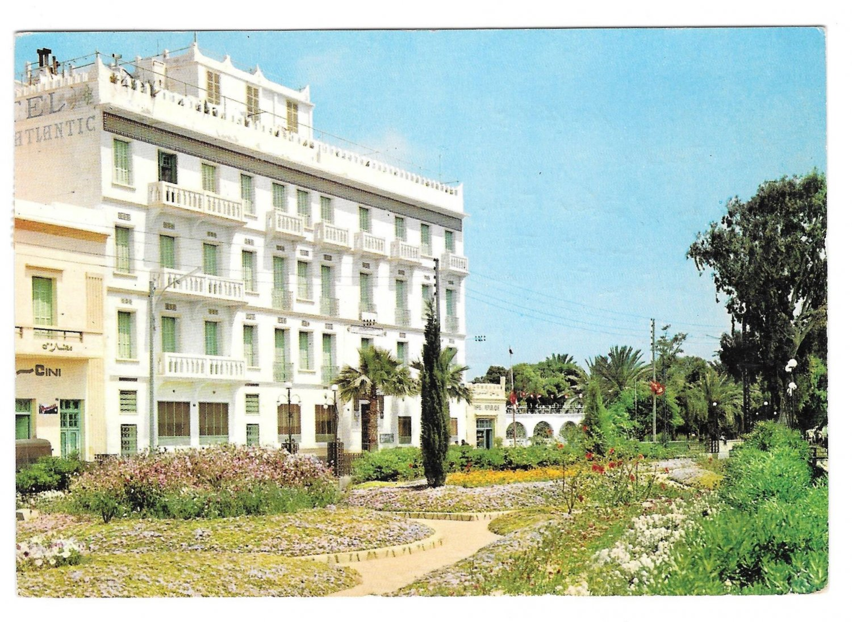 Tunisia Gabes Hotel Atlantic 1965 Vintage Ismail Postcard 4X6 Stamps