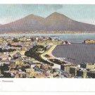 Italy Napoli Panorama Vesuvius Sea Port Campania Vintage Naples Postcard