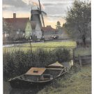 Netherlands Holland Zaandam Windmill Boat Canal Dutch Village Town Vintage Postcard