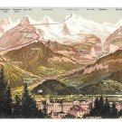 Switzerland Interlaken Bernese Swiss Alps Mountains Towns Vintage Postcard