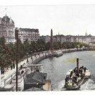 UK London Thames River Embankment Steamer Boats F Hartmann Postcard