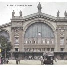 Paris France Gare du Nord Railway Station RR Vintage Postcard