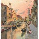 Venice Italy Rio Girardini Gondola Signed C Menegazzi 1908 Squared Circle Postmark
