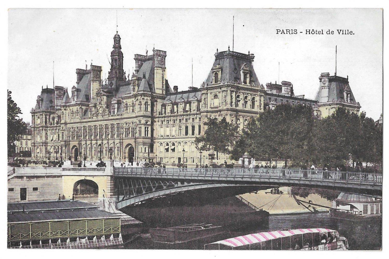 france paris hotel de ville city hall vintage postcard. Black Bedroom Furniture Sets. Home Design Ideas