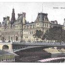 France Paris Hotel de Ville City Hall Vintage Postcard