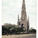 Scotland Scott Monument and Castle Edinburgh Vintage Postcard