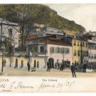 Gibraltar The Library Vintage 1908 V B Cumbo Tinted Postcard
