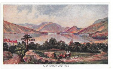Prudential Insurance Co Lake George NY Touring Car Advertising Postcard