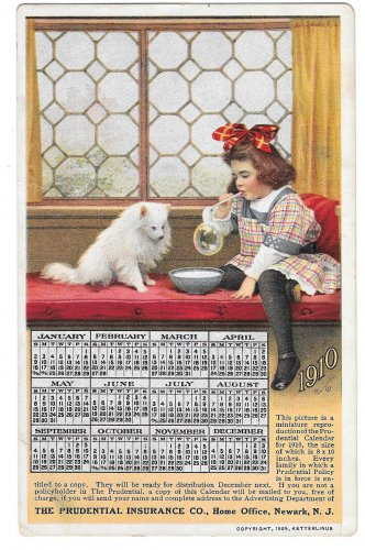 Prudential Insurance Co 1910 Calendar Advertising Postcard