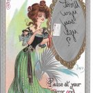 Dwig Mirror Message Kaplan Postcard Artist Signed 1908 Embossed Gilt Pretty Lady