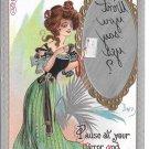 Dwig Mirror Message Kaplan Postcard Artist Signed 1908 Embossed Gilt Pretty Lady