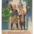 Heartiest Congratulations Boys Shamrocks GildedEmbossed Vintage 1908 Postcard