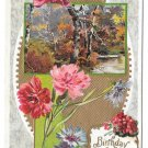 Birthday Greetings Flowers Carnations Woodland Scene Embossed Gilded Postcard