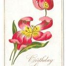 Happy Birthday Red Tulips Vintage Embossed Postcard Flowers