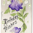 Birthday Wishes Pansies Silk Flowers Glitter Add On Vintage Embossed Postcard