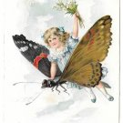 Fantasy Girl Child Riding Butterfly Vintage Tuck Birthday Series Postcard