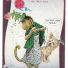 Artist Signed Valentine Postcard 1906 R F Outcault Dressed Monkey Terrier Dog