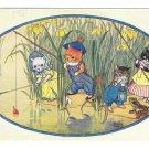 Dressed Cats Fishing Pond Any Luck Pussy? Artist Molly Brett Medici Society Postcard