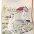 Congratulations Stork Girl Kneeling in Prayer S. Langsdorf Embossed Postcard