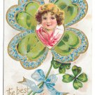 New Years Fantasy Postcard Girls Face in Shamrock Forget me Nots Embossed