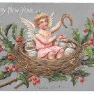 New Year Fantasy Postcard Angel Cherub in Nest Horseshoe Money Bags Silver Gilt