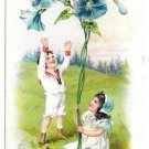 Tuck Fantasy Birthday Postcard Girl Boy Morning Glories Embossed Children Flowers