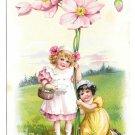 Tuck Fantasy Birthday Postcard Girls w Giant Pink Flowers Vintage Embossed