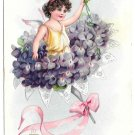 Tuck Fantasy Birthday Postcard Bouquet Violets Flowers Fairy Child Angel