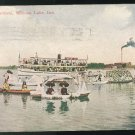 IN Water Carnival Winona Lake Indiana 1914 Postcard Light Warsaw Flag Cancel