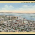 TX Aerial Birds Eye View Galveston Texas Curteich Postcard