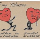 Fantasy Valentine Postcard Heart Faced Lover 1905 UDB Glitter Added