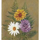 Motto Love Poem Flowers Daisy Mum Ferns Gold Moire Background Vintage Postcard