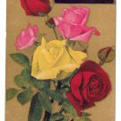 Motto Poem Vintage Postcard Flowers Multi Color Roses Gold Background