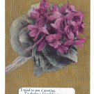 Motto Friendship Poem Postcard Flowers Violets on Gold Moire Background