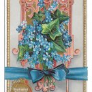 Language of Flowers Forget Me Not True Love Gold Gilt Embossed E Nash Postcard