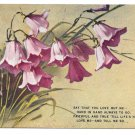 Vintage E Win Motto Postcard Bluebell flowers Buchannon Poem Say You Love Me