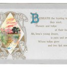 Motto Love Poem Postcard Beneath The Trysting Tree Vintage Embossed Gold Gilding